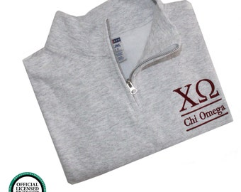 Chi Omega Quarter Zip Pullover,  Chi-O cadet fleece pullover, CHi Omega Sorority Letters sweatshirt, Chi O Greek Apparel, Sorority Clothing
