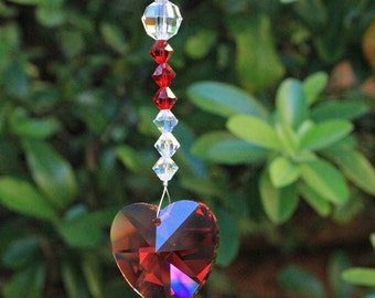 Ruby Wedding 40th Anniversary Gift Crystal Sun Catcher. Ruby heart Swarovski Suncatcher. July Birthstone Gift For Wife. Crystal Prism.