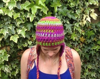 Crochet hippy hat, festival hat with ear flaps, crochet beanie , ski hat, Scandinavian winter hat, boho, adult size- Handmade & ready to go!
