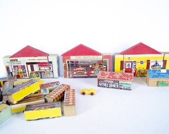 Gaston Mfg Changeable Building Blocks, RARE Wood Wooden Toy Blocks Fire Station, Log Cabin, House,  Service Station, Wood Block Puzzle
