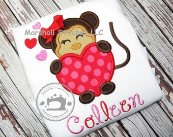 Girl's Valentine Shirt/ Monkey Valentine Shirt/ Monkey Shirt/ Monkey Heart Shirt