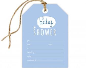 Boy Baby Shower Invitation, Boy Baby Shower Fill-In Invitation, DIY Baby Shower Invitation, Baby Boy Shower Invite, Blue Baby Shower Invite