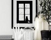 Gato en la ventana, ilustración, imprimible, arte para pared, láminas imprimibles, Poster, tipografía, motivacional