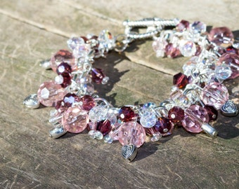 Pink-Purple Charm Cluster Bracelet