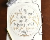 they broke bread in their homes, calligraphy print, acts 2:46, black and gold print