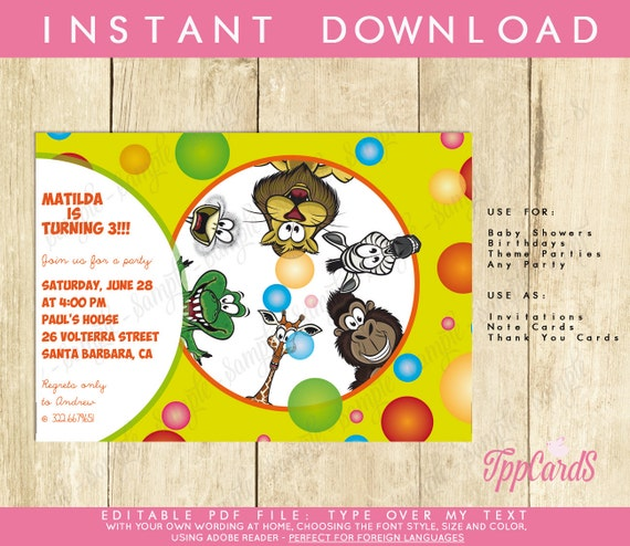 Safari first birthday party invitations jungle birthday party il570xn stopboris Gallery