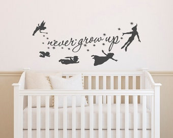 Peter Pan Wall Decal Quote- Never Grow Up Quotes Wall Decals Nursery- Peter Pan Nursery Baby Kids Boys Room Playroom Bedroom Home Decor 018