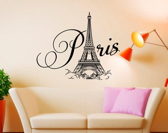 Paris Wall Decal Vinyl Lettering- Paris Bedroom Decor- Paris Eiffel Tower Wall Decal- Paris France Wall Art Bedroom Living Room Decals 057