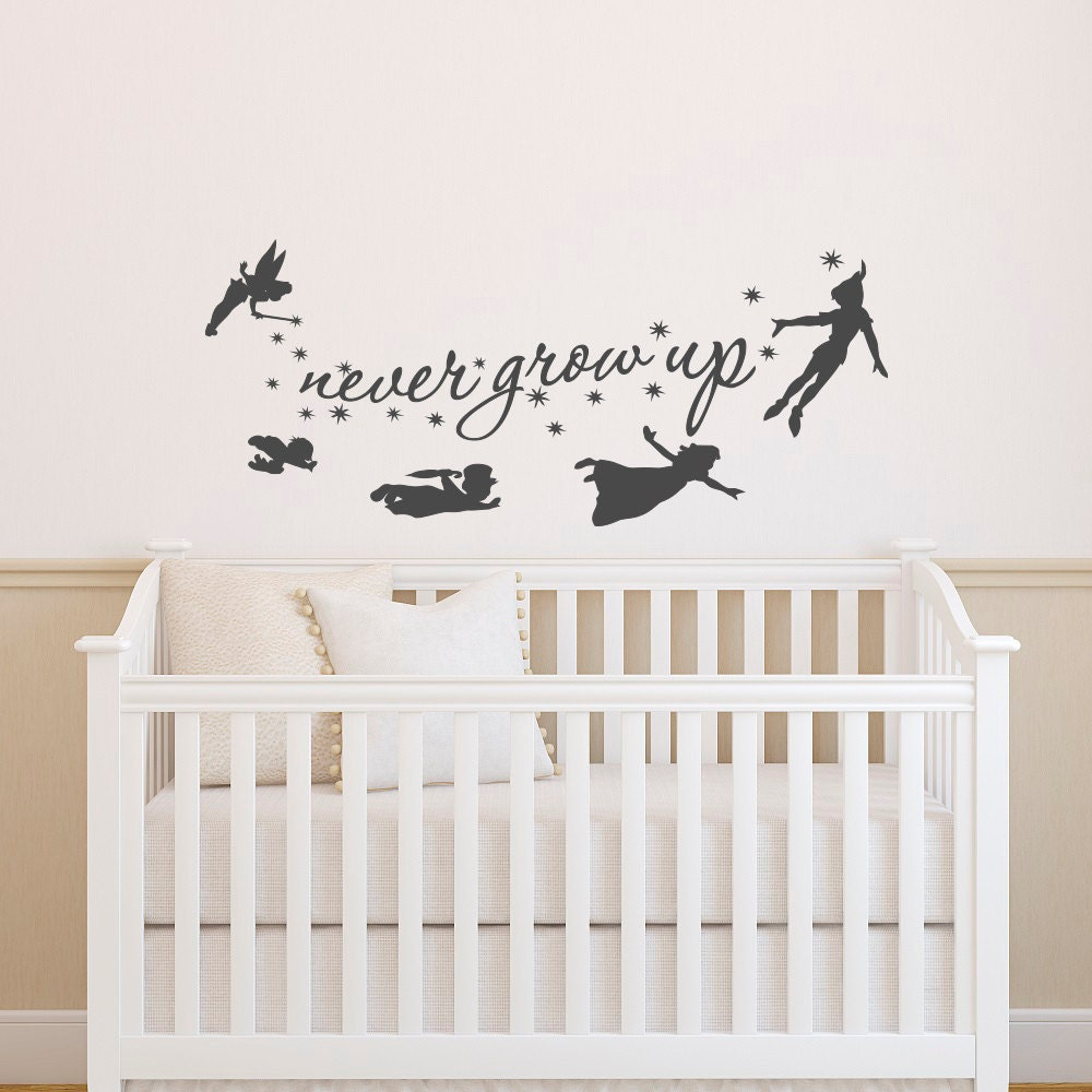 Quote Wall Stickers For Nursery : Peter pan wall decal quote never grow up quotes decals