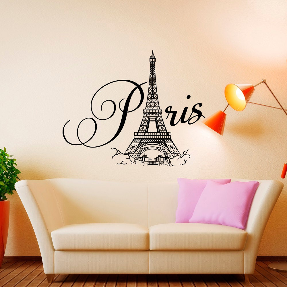 Paris wall decal vinyl lettering paris bedroom decor paris for Decoration for bedroom wall