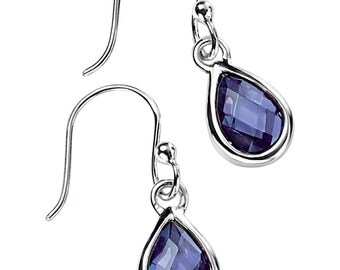 Silver faceted teardrop amethyst in silver teardrop earrings