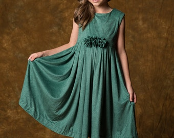 Super Soft Turquoise Pleated Girl's Dress