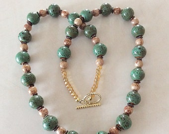Green Ceramic and Opaque Glass Bead Necklace