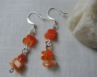 Orange Chip Earrings, Orange Dangles, Tangerine Earrings, Stone Chip Earrings