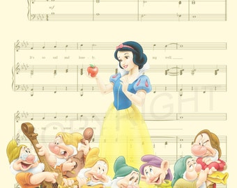 Snow White and the Seven Dwarfs Music Sheet Art Print