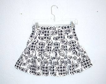 Patterned Graphic 90s Tennis Pleated Navy White Skirt
