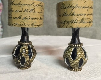 2 - Black and Tan Miniature House Lamps, Fairy house, Cottage, Dollhouse