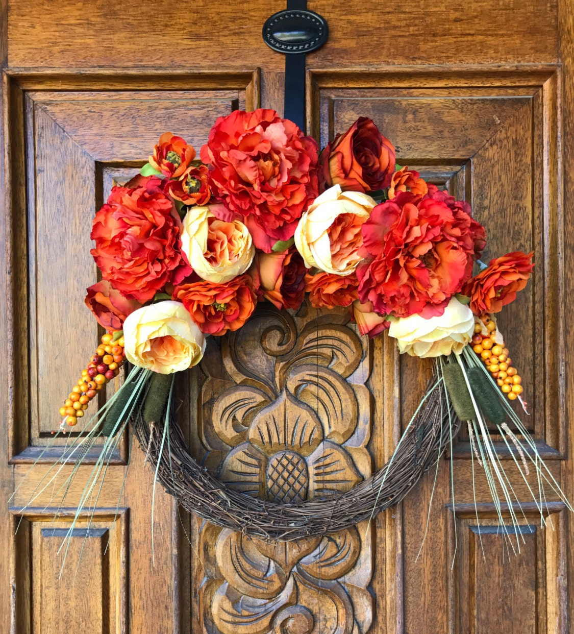 Sale Firey Fall Flower Wreath Fall Wreath Red Wreath