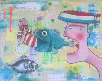 """Il Rumore del Mare - Original painting - 30x40x4 Cm (12""""x16""""x1,5"""")"""