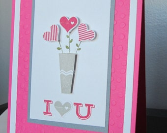 I love you card: Anniversary Card, I'm sorry card, Pink Card, card for her, handmade card, stampin up