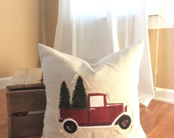 Vintage Truck Christmas Tree Pillow Cover