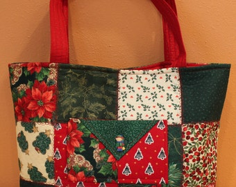 Quilted Tote Bag - Christmas Patchwork