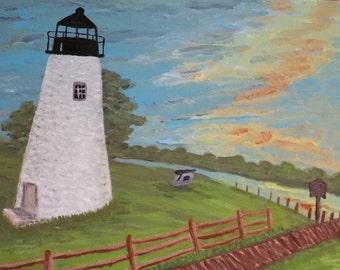 8x10 Havre De Grace Light House Giclee Print on 130lb Finch paper