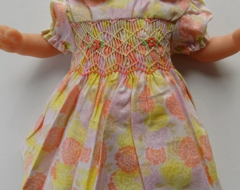 clothes doll, cotton dress, floral dress, smocked, embroidered hand smocked hand doll 36 cm