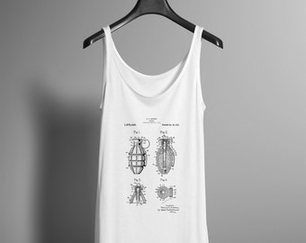 Patent Print Shirt - Grenade Patent Tank Top - Explosive Bomb Workout Activewear Yoga Tee - Screenprinted Graphic Hipster Tee