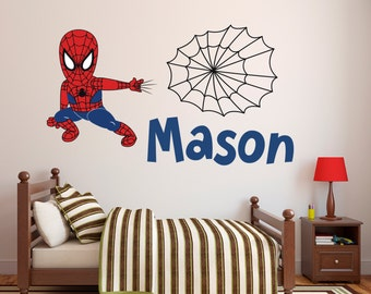 Spiderman Wall Decal   Personalized Name Wall Decal   Spider Boy Wall Art    Superhero Wall Part 44
