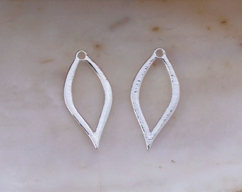 2/4/6 PCS Bright Silver Plated Tear Drop Shaped Charms - 25x12mm Lead and Nickel Free