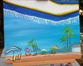 Under A Beach Umbrella - Original Acrylic Painting