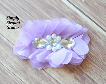 Lavender Chiffon Flowers With Large Rhinestones and Pearls, Craft Supply Flowers, Wholesale Flowers