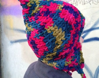 Hand crocheted pixie hat for older teenager/adult