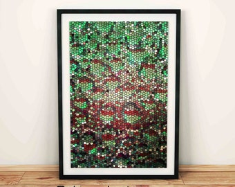 Green Mosaic, Mosaic stones glass pattern, Digital Texture, Wall art decal, house decor, fancy art, Home art decor