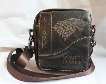 Game of Thrones inspired Genuine Leather Bag Purse. Hand engraved with House Stark's Direwolf sigil, name and motto Winter is Coming