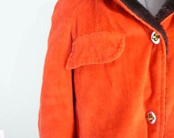 Mid Century Burnt Orange Parka /Sharpee Jacket / 1960s Sharpe Coat / Faux Fur Lined / Modern Size Medium M to Large L