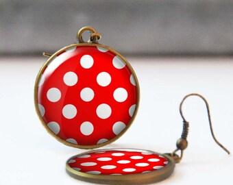 Red polka dot earrings, Rockabilly Jewelry, Round picture dangle earrings, Bridesmaid gift, Resin Jewelry, Retro 50's earrings, 5006-1