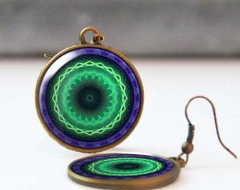 Green and purple mandala earrings, Fractal art, Talisman jewelry, Photo earrings, Resin earrings, Bohemian jewelry, 5058-6