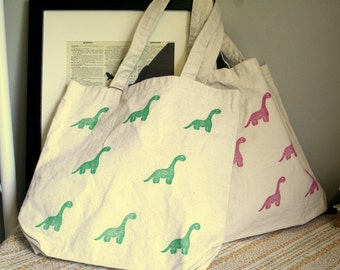Dino Hand Printed Canvas Tote