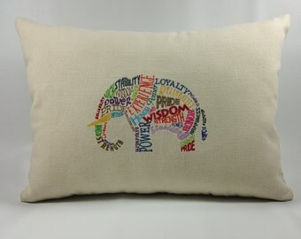 Embroidered Elephant Pillow Cover, 100% Cotton Canvas