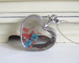Heart Glass Pendant Necklace  full of flowers red blue, dried, best gift mother day, girlfriend