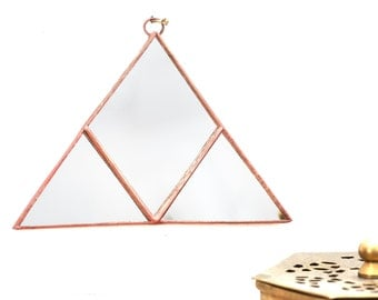 Geometric copper pyramid triangle wall hanging mirror