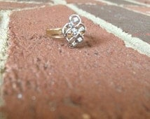 Silver Woven Ring with Diamonds and 14k Gold