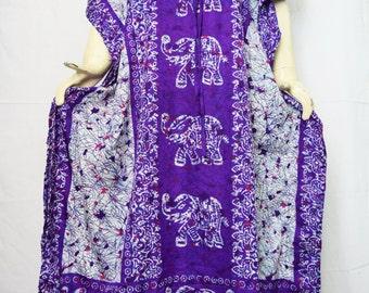 Batik Elephant Kaftan Maxi Dress Purple Summer Traditional Nightwear Casual Long Dress Lounger Caftan