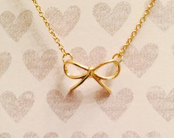 Tiny Gold Bow Bridesmaids Necklace, Dainty Gold Necklace, Bow Necklace, Wedding Necklace, Gold Plated Necklace