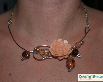 Flower felt peach necklace, silver wire