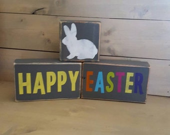 Happy Easter~Wood Blocks~ Stacking Blocks~Blocks~ Bunny Blocks~Easter Blocks~Easter Decor~Happy Easter Blocks~Rabbit Blocks~Easter Rabbit