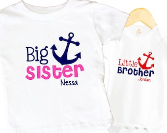 Big Sister Anchor Shirt SET Nautical Little brother Animals Sibling Personalized Big Sister Big Brother Shirts bodysuit SET