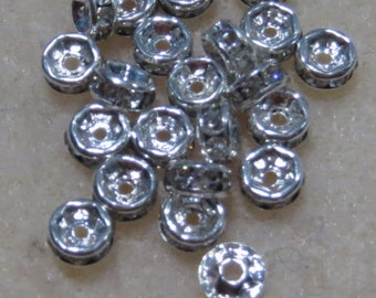 Rhinestone Silver Plated Spacers 4MM 30 PCS per pack